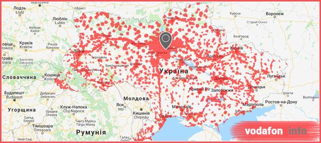 карта покриття 3g Водафон